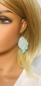 Mint Suede and Metallic Silver Leather Earrings - E19-1000
