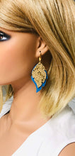 Load image into Gallery viewer, Blue and Metallic Gold Leather Earrings - E19-1001