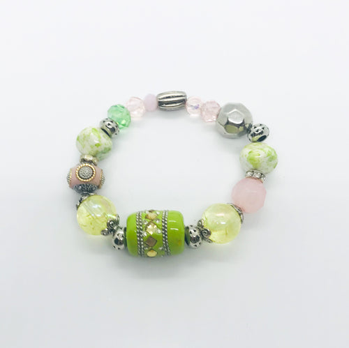 Big & Bold Collection Glass Bead Stretchy Bracelet - B1012