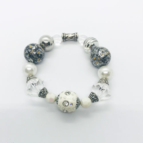Big & Bold Collection Glass Bead Stretchy Bracelet - B1013