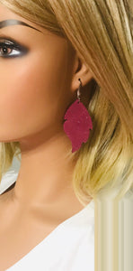 Dark Raspberry Dazzle Leather Earrings - E19-1014
