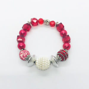 Big & Bold Collection Glass Bead Stretchy Bracelet - B1014