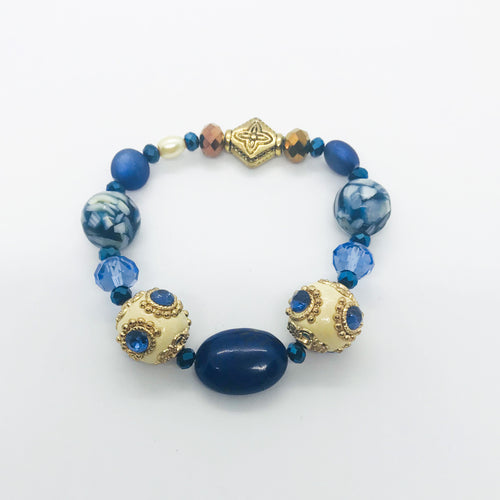 Big & Bold Collection Glass Bead Stretchy Bracelet - B1016