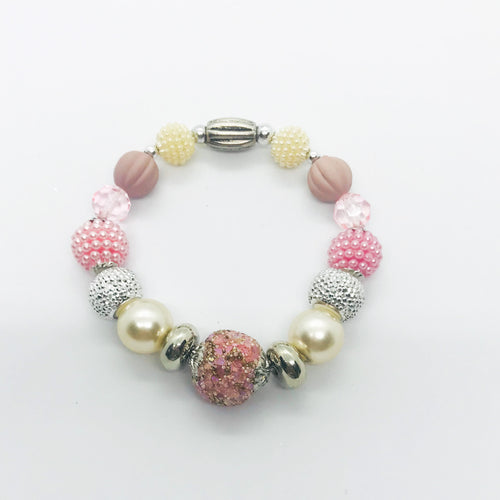 Big & Bold Collection Glass Bead Stretchy Bracelet - B1019