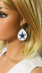 Dallas Cowboy Themed Leather Earrings - E19-1020