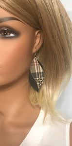 Black and Preppy Plaid Leather Earrings - E19-1024
