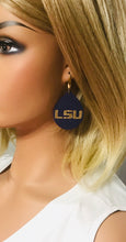 Load image into Gallery viewer, LSU Themed Leather Earrings - E19-1027