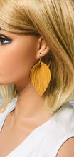 Load image into Gallery viewer, Mustard Palm Leaf Leather Earrings - E19-1034