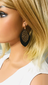 Black and Mystic Python Leather Earrings - E19-1038