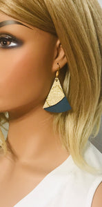 Teal Suede and Mystic Gold Leather Earrings - E19-1045
