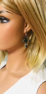 Jungle Gray Camo Leather Earrings - E19-1046
