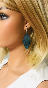 Turquoise Snake Skin Leather Earrings - E19-104