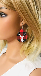 Buffalo Plaid and Stag Head Leather Earrings - E19-1053