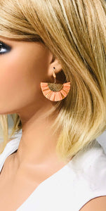 Peach and Gold Fan Shaped Tassel Earrings - E19-1063