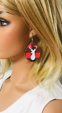 Load image into Gallery viewer, Buffalo Plaid Leather Stag Head Earrings - E19-1069