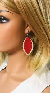Suede Leather and Crimson Dazzle Leather Earrings - E19-1083