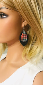 Black and Plaid Genuine Leather Earrings - E19-1087