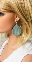 Load image into Gallery viewer, Palm Leaf Sea Foam Green Leather Earrings - E19-110