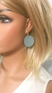 Gold Tipped Mint Leather Earrings - E19-1118