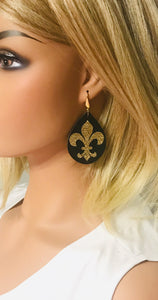 Saint's Themed Leather Earrings - E19-1126