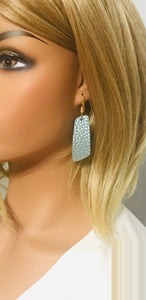 Gold Tipped Mint Leather Earrings - E19-1127