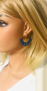 Navy and Gold Fan Shaped Tassel Earrings - E19-1128