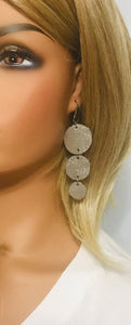 Taupe Dazzle Leather Earrings - E19-1139