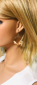 White and Gold Glass Bead Hoop Earrings - E19-113