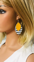Load image into Gallery viewer, Striped Leather with Mustard Yellow Leather Earrings - E19-1141