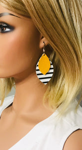 Striped Leather with Mustard Yellow Leather Earrings - E19-1141