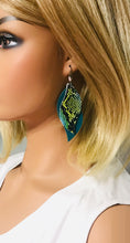 Load image into Gallery viewer, Turquoise and Cobra Leather Earrings - E19-1143