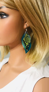 Turquoise and Cobra Leather Earrings - E19-1143