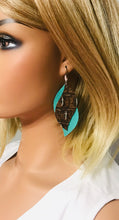 Load image into Gallery viewer, Aqua Leather and Turquoise Crocoidle Leather Earrings - E19-1144