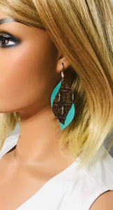 Aqua Leather and Turquoise Crocoidle Leather Earrings - E19-1144