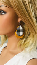 Load image into Gallery viewer, Mustard Suede Leather and Buffalo Plaid Leather Earrings - E19-1148