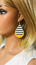 Load image into Gallery viewer, Mustard Leather with Striped Leather Overlay Earrings - E19-1150