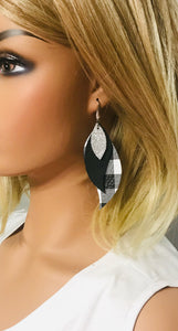 Black Leather and Buffalo Plaid Leather Earrings - E19-1156