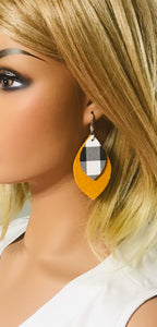 Mustard Suede and Buffalo Plaid Leather Earrings - E19-1157