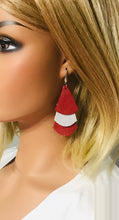 Load image into Gallery viewer, Crimson and Silver Dazzle Leather Earrings - E19-1164