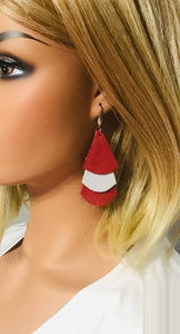Crimson and Silver Dazzle Leather Earrings - E19-1164