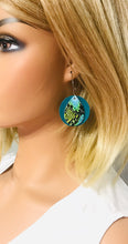 Load image into Gallery viewer, Turquoise and Cobra Leather Hoop Earrings - E19-1167