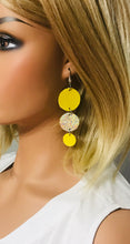 Load image into Gallery viewer, Yellow Leather and Banana Leather Earrings - E19-1174