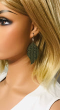 Load image into Gallery viewer, Green Braided Fishtail Leather Earrings - E19-1177