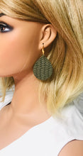 Load image into Gallery viewer, Olive Green Braided Fishtail Leather Earrings - E19-1194