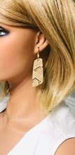 Load image into Gallery viewer, Mystic Gold on Tan Leather Earrings - E19-1195