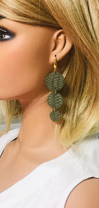 Olive Green Braided Fishtail Leather Earrings - E19-1200