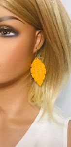 Mustard Braided Fishtail Leather Earrings - E19-1205
