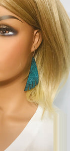 Light Turquoise Blue on Black Leather Earrings - E19-1208