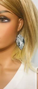 Navy Metallic Camo Leather Earrings - E19-1215