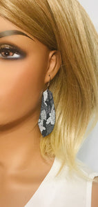 Navy Metallic Camo Leather Earrings - E19-1233